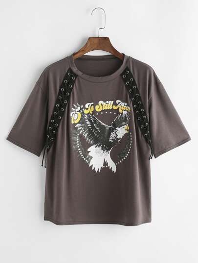 Brown Eagle Print Lace Up Detail T-shirt