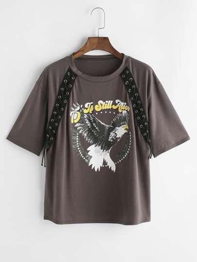 T-shirt de détail d'acajou d'impression d'Eagle de Brown