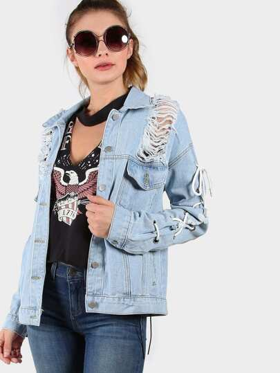 Frayed Eyelet Lace Up Denim Jacket LIGHT BLUE