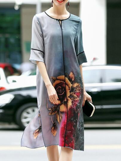 Color Block Flowers Print Split Dress