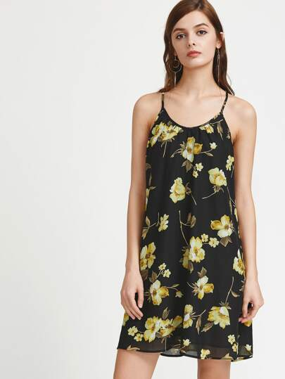 Flower Print Back Tie Strap Racer Dress