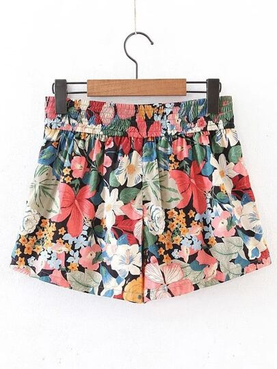 Elastic Waist All Over Floral Print Shorts
