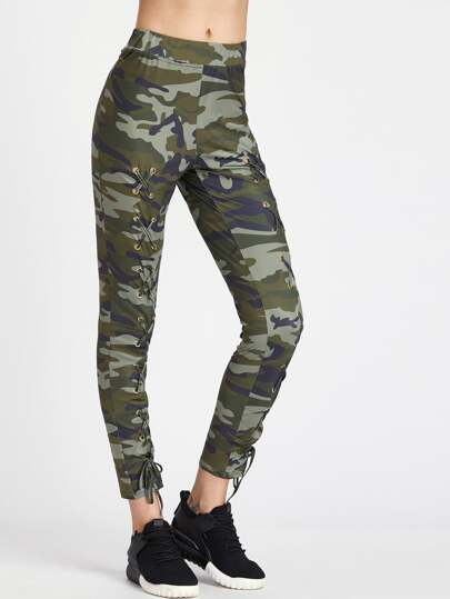 Army Green Camouflage Stampa Occhiello Lace Up Pants