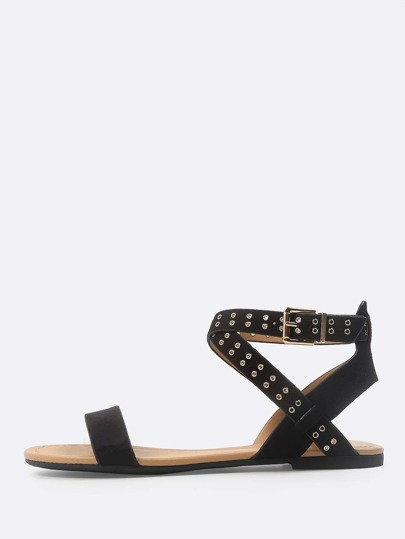 Faux Suede Grommet Ankle Sandals BLACK