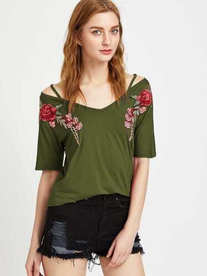 Оливково-зелёная модная футболка с цветочной вышивкой и  V-образным вырезом