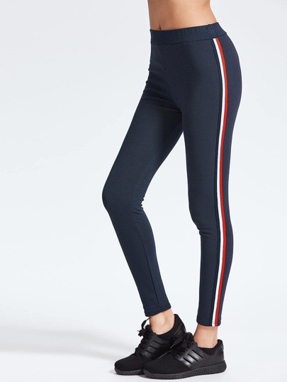 Navy Striped Side Knöchel Leggings