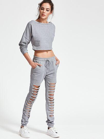Top gris lacéré avec la chute de l'épaule & Pantalons avec lacet