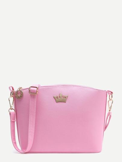 Pink Crown Detail PU Shoulder Bag