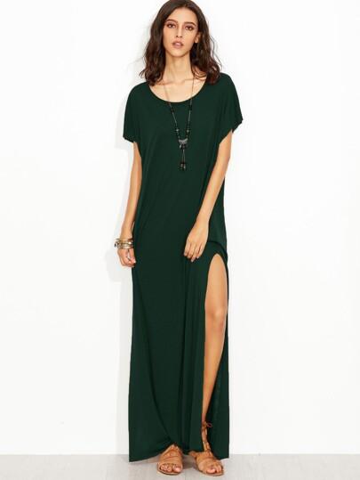 Vestido largo con cuello redondo con abertura