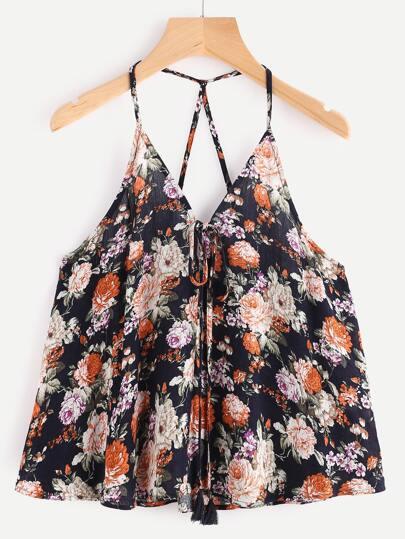 Navy Flower Print Tassel Tie Front Cami Top