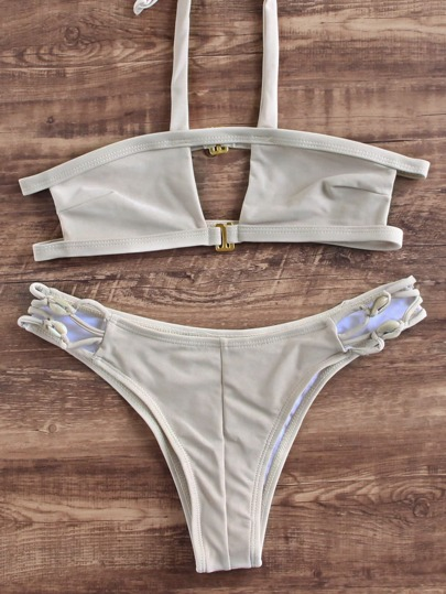 Pale Khaki Halter Cutout Design Bikini Set