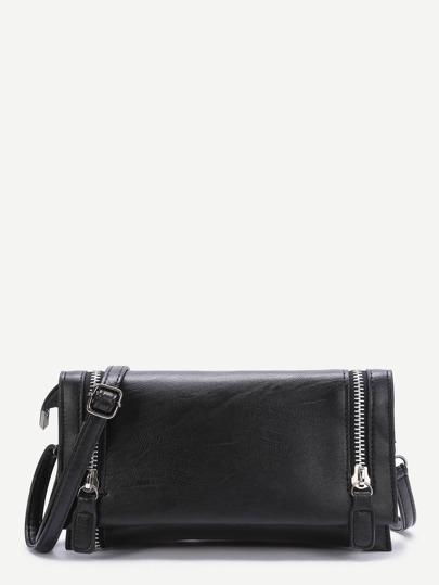 Black Zipper Fold Over PU Shoulder Bag
