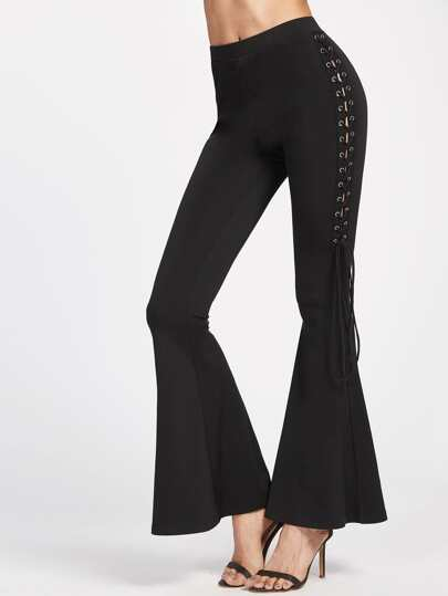 Grommet Lace Up Side Flare Pants