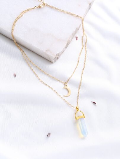 Gold Crystal And Crescent Pendant Layered Necklace