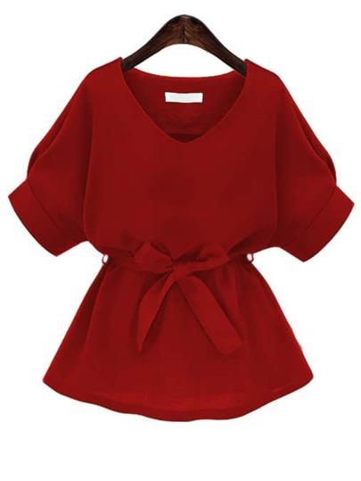 Blusa con cuello en V con cordón - rojo
