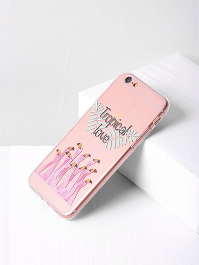 Letter Print Flamingo Clear iPhone 6/6s Case