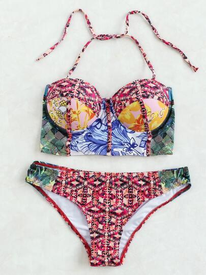 Multicolor stampato Halter Bikini
