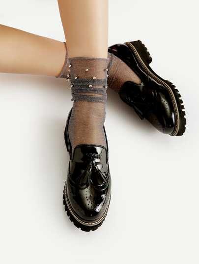 Beaded Detail Glitter Mesh Ankle Socks