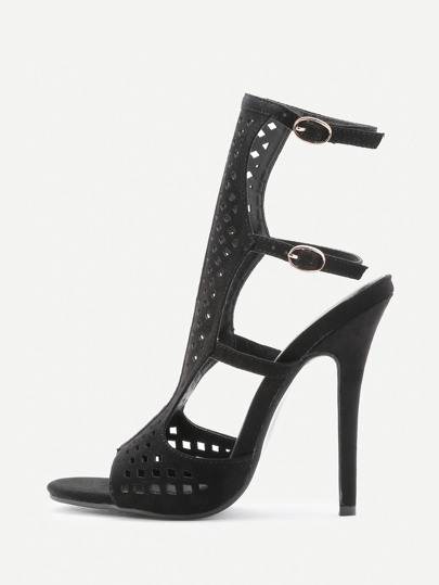 Laser Cut Sling Back High Heeled Sandals