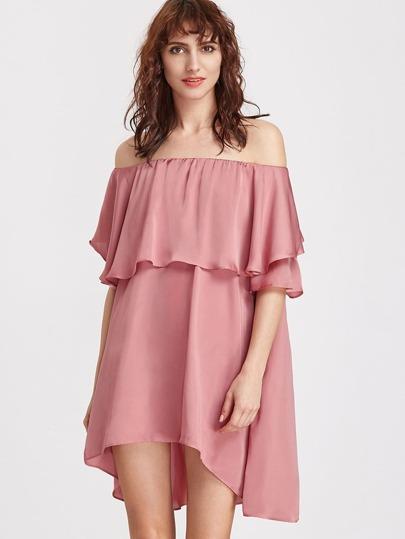 spalla abito asimmetrico con aria e volantini - Rosa