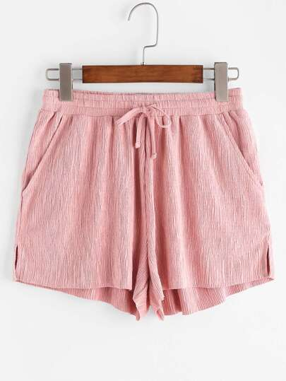 Smocked Drawstring Waist Textured Shorts