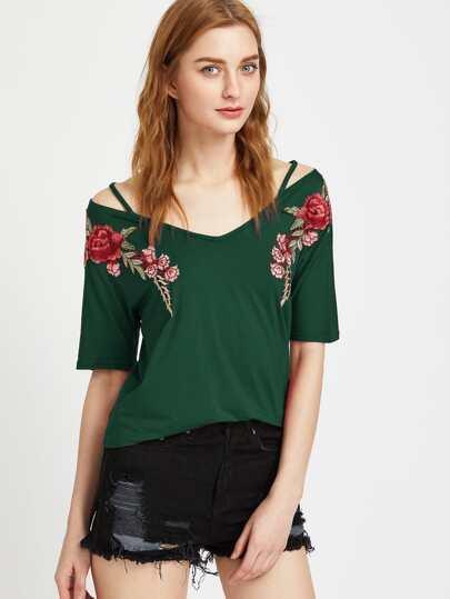 Shirt avec le patch rose col V avec des bandes - vert foncé