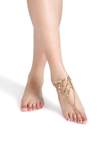 chaîne de cheville pied pailleté d'or