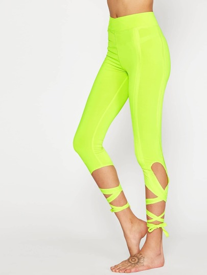 Neon Yellow Crisscross Tie Up Leggings