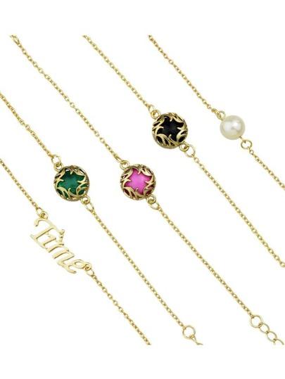 Pink Color Boho Imitation Gemstone Chain Bracelets Set