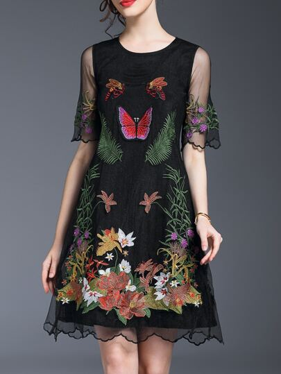 Black Sheer Gauze Embroidered A-Line Dress