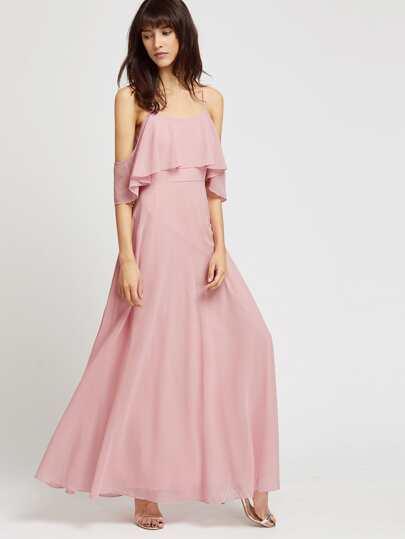 abito lungo con le spalle nude - Rosa