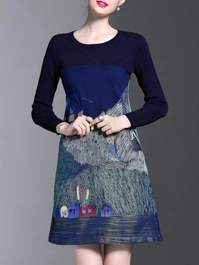Robe bleue foncé A-line brodé