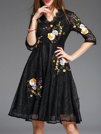Black V Neck Flowers Embroidered Lace Dress