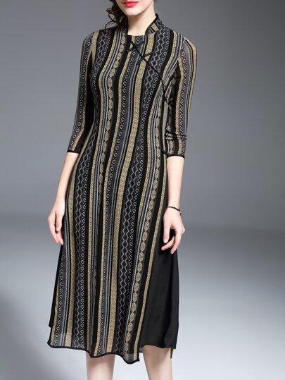 Multicolor Geometric Print Split Dress