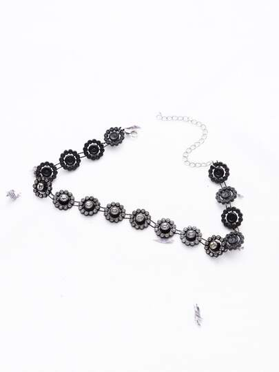Black Flower Shaped Rhinestone Statement Choker