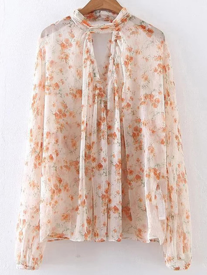 Ditsy Print Cut Out Chiffon Blouse
