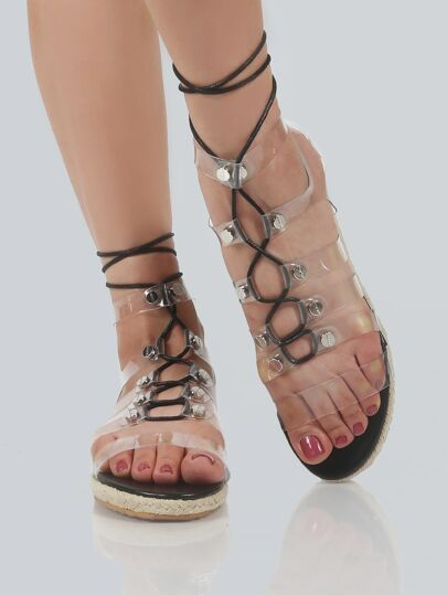 Lace Up Clear Straps Sandals CLEAR