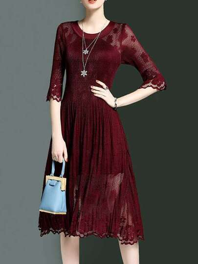 Burgundy Crew Neck Sheer Pleated Dress