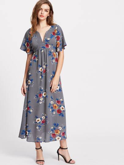 Flower Print V Notch Flutter Sleeve Two Way Belted Dress
