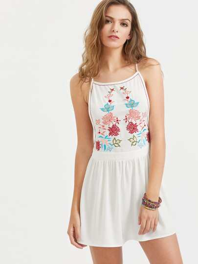 Low Side Embroidered Racerback Cami Dress