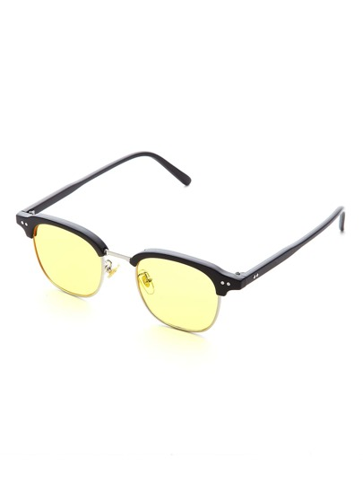Half Frame Yellow Lens Sunglasses