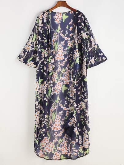 Kimono de la plage mousseline marine imprimé fleuri