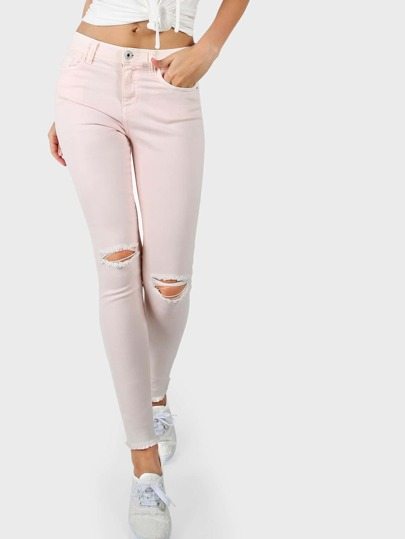 Mid Rise Skinny Jeans PINK