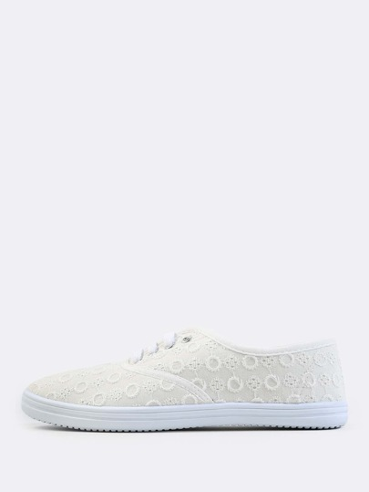 Crochet Knit Lace Up Sneakers WHITE