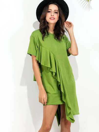 Green Ruffle Trim Asymmetric Hem Tee Dress