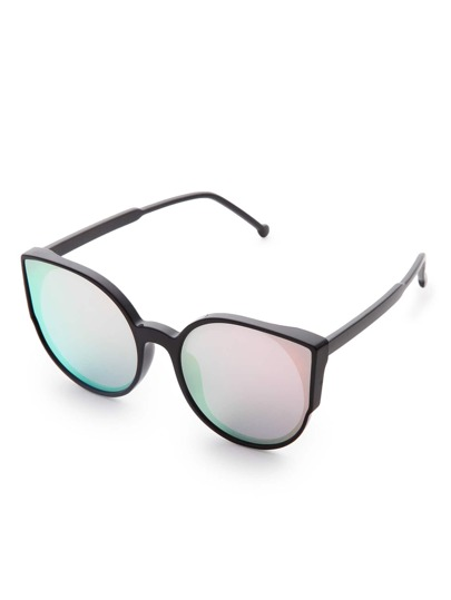 Black Frame Mirror Lens Sunglasses