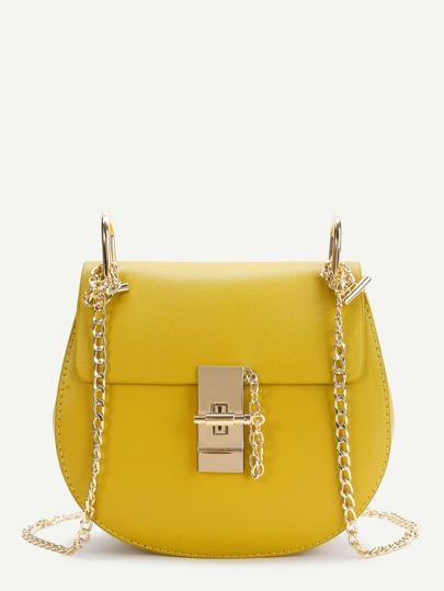Bolso pu con solapa y cadena - amarillo