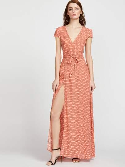 Vestido cruzado de lunares - naranja