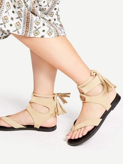 Apricot Tassel Tie Toe Post Sandals