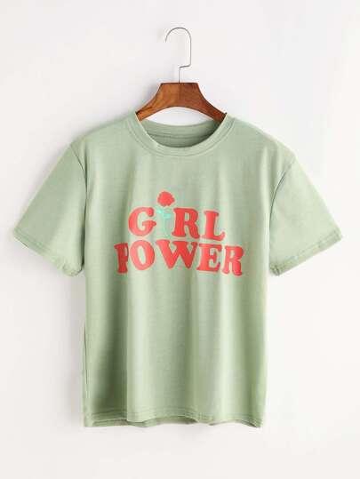 T-shirt con stampa di rosa e lettera